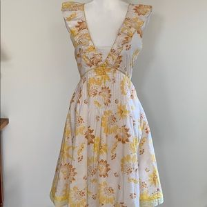 Rebecca Taylor White and Yellow Floral Dress